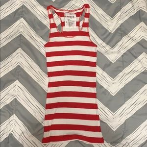 Red and white striped racer back
